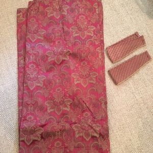"""Set of Red and Gold Damask Drapery Panels 84""""Lx80"""""""